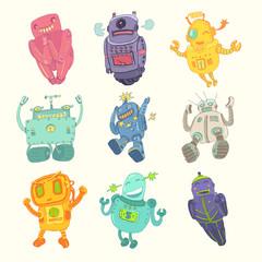 toy robot set, vector illustration, hand drawn