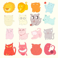 cute cats set, (lions, cats and kittens), vector illustration