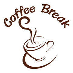 Coffee. break. hot. vector. illustration.
