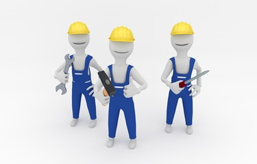 Cartoon illustration of repairmen holding tools