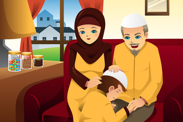 Family celebrating Eid-Al-fitr