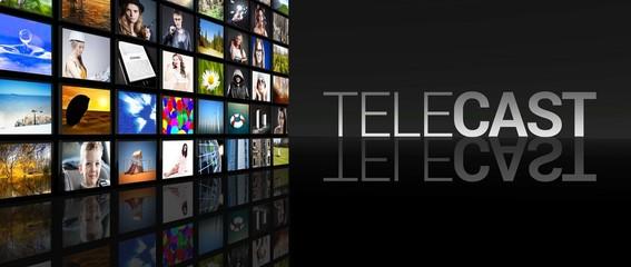 Telecast Television screens black background