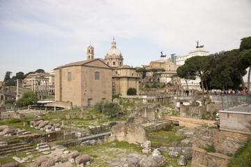 Tourists visiting the Roman Forum