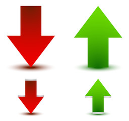 Green, red arrow up, down