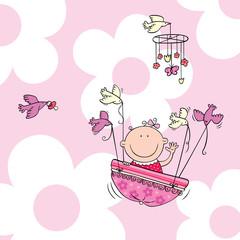 Flying baby girl