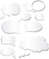 speech bubble white flat designs in different styles