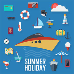 Flat design icons, holiday marine background