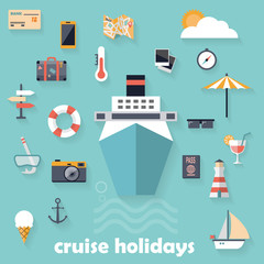 Flat design icons, cruise holidays background