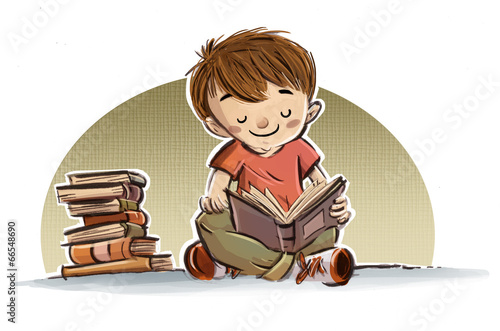 "Dibujo De Una Niña Con Un Libro: ""niño Leyendo Libros"" Stock Photo And Royalty-free Images"