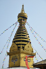 Swayambhunath Temple or Monkey Temple with Buddha eyes