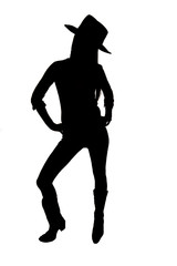 Silhouette of cowgirl with a hat standing up