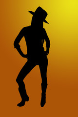 Cowgirl silhouette with and orange background and the sun