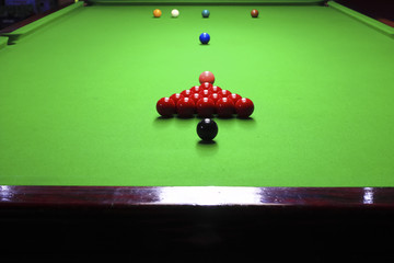 opening frame of the snooker