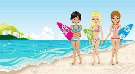 Surfer girls in the Beach