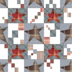 Seamless checkered kids patchwork stars pattern background