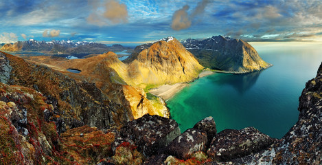 Wall Mural - Beach, mountain landscape Norway - Lofoten