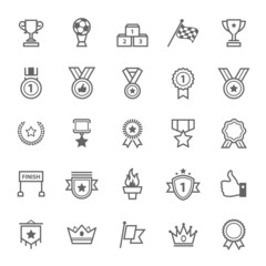 Set of Outline Stroke Award and Trophy Icons