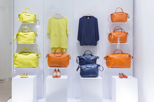 Fashion shoes and bags display
