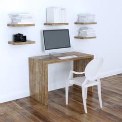 Modern Home Office Interior Design With Bookshelves 3d Version
