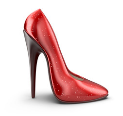 High heel shoes. 3D Icon isolated on white background