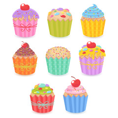 A set of tasty muffins and cupcakes