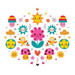 cute cartoon mushrooms flowers hearts & birds nature