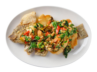 Fried fish with chilli and spices, delicious food Thailand style