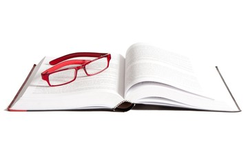 Book and Glasses on a white background