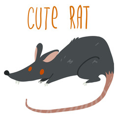 Vector cartoon cute black rat icon.