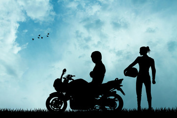 Fototapete - pair of motorcyclists silhouette