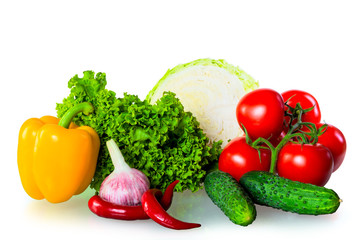 healthy fresh vegetables isolated on white background