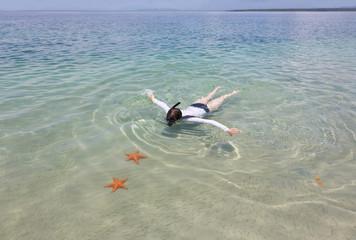Snorkeling woman, archipelago Bocas del Toro, Panama