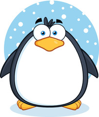Cute Penguin Cartoon Mascot Character In The Snow
