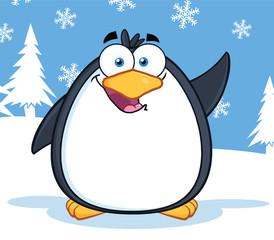 Cute Penguin Cartoon Mascot Character Waving