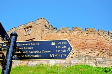 Tamworth castle and tourist information sign © Arena Photo UK