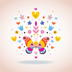 butterfly, hearts and flowers