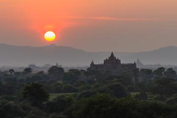 Sunset and Pagoda ,  Bagan in Myanmar (Burmar)