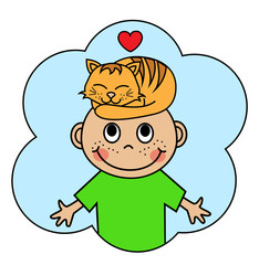 Cartoon boy with a sleeping red cat on his head