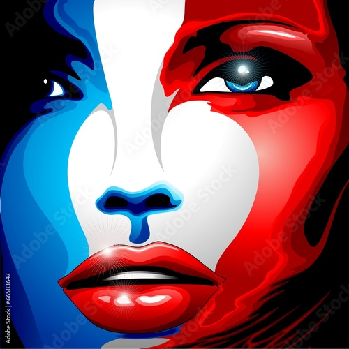 France Flag Girl Portrait