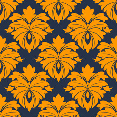Damask seamless pattern in blue and orange