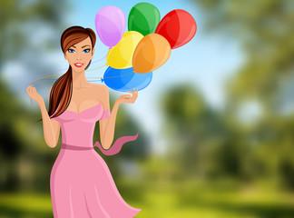 Woman balloon portrait