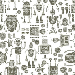 Hipster robot seamless pattern black and white