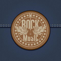 banner with the emblem of rock music on the background of denim