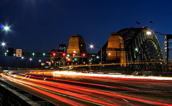 Sydney Harbour Bridge evening rush hour