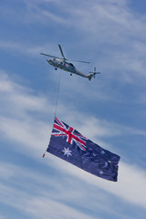 Australian Navy helicopter marks the Navy's centenary