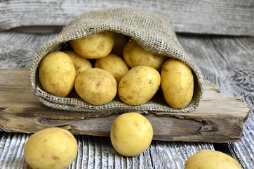Potatoes in the sack.