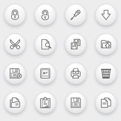 Document icons with white buttons on gray background.