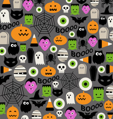 cute halloween icon pattern