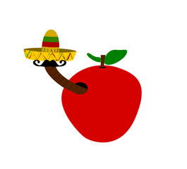 worm in apple wearing sombrero