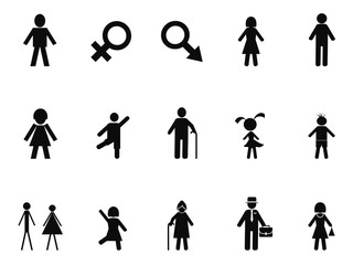black male female stick figure icons set